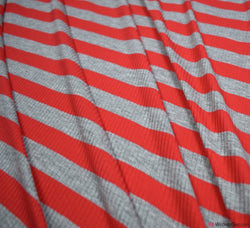 Ribbed Stripe Jersey Fabric - Red / Grey