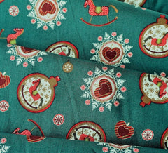 Rose & Hubble Cotton Fabric - Festive Rocking Horse Baubles Green