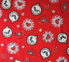 Rose & Hubble Cotton Fabric - Festive Rocking Horse Baubles Reds