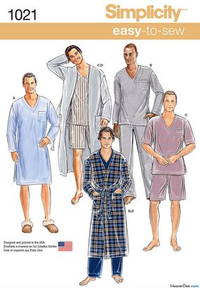 Simplicity - S1021 Men's Classic Pajamas & Robe - WeaverDee.com Sewing & Crafts - 1