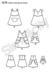 "Simplicity - S1379 Child's Dress & Dress for 18"" Doll - WeaverDee.com Sewing & Crafts - 1"