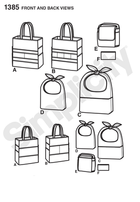 Simplicity - S1385 Art Caddies, Lunch Bags & Snack Bag - WeaverDee.com Sewing & Crafts - 1