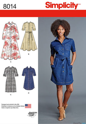 Simplicity - S8014 Misses' Shirt Dress - WeaverDee.com Sewing & Crafts - 1