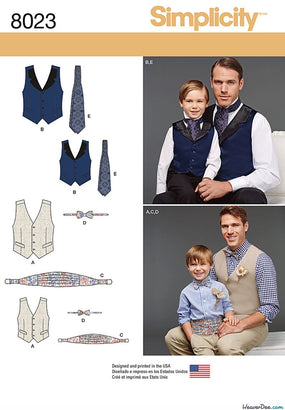 Simplicity - S8023 Boys' & Men's Vest, Bow-tie, Cummerbund & Ascot - WeaverDee.com Sewing & Crafts - 1