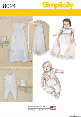 Simplicity - S8024 Babies' Christening Sets with Bonnets - WeaverDee.com Sewing & Crafts - 1