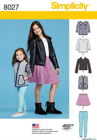 Simplicity - S8027 Child's / Girls' Sportswear (Jacket, T-shirt, Skirt, Leggings) - WeaverDee.com Sewing & Crafts - 1