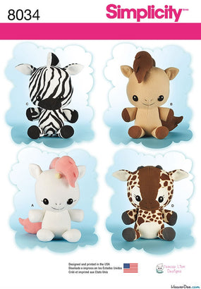 Simplicity - S8034 Animal Stuffies - WeaverDee.com Sewing & Crafts - 1