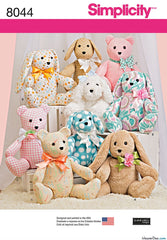 Simplicity - S8044 Stuffed Animal Toys: Teddy Bear / Dog / Rabbit - WeaverDee.com Sewing & Crafts - 1