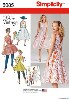 Simplicity - S8085 Misses' Vintage 1950's Wrap Dress in Two Lengths - WeaverDee.com Sewing & Crafts - 1