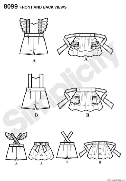Simplicity Pattern: S8099 Toddlers' Romper & Button-on