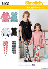 Simplicity - S8105 Child's & Girls' Knit Tunics & Leggings - WeaverDee.com Sewing & Crafts - 1