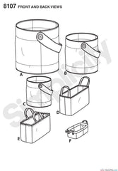 Simplicity - S8107 Bucket, Basket & Tote Organizers - WeaverDee.com Sewing & Crafts - 1