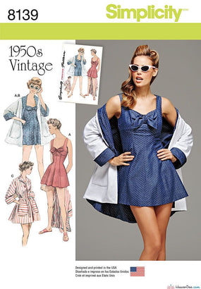 Simplicity - S8139 Misses' Vintage Bathing Dress & Beach Coat - WeaverDee.com Sewing & Crafts - 1