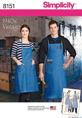 Simplicity - S8151 Vintage Aprons for Boys, Girls, Misses & Men - WeaverDee.com Sewing & Crafts - 1