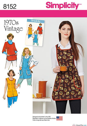 Simplicity - S8152 Misses' Vintage 1970's Aprons - WeaverDee.com Sewing & Crafts - 1