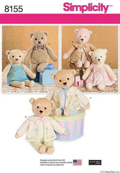 Simplicity Pattern S8155 Stuffed Teddy Bears With Clothes