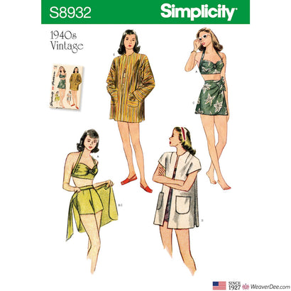 Simplicity Pattern S8932 Misses' Vintage 1940s Bikini Top, Shorts, Wrap, Skirt & Coat