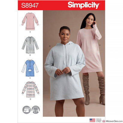 Simplicity Pattern S8947 Misses' Knit Sweatshirt Mini Dresses