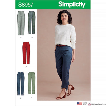 Simplicity Pattern S8957 Misses' Slim Leg Trousers with Variations