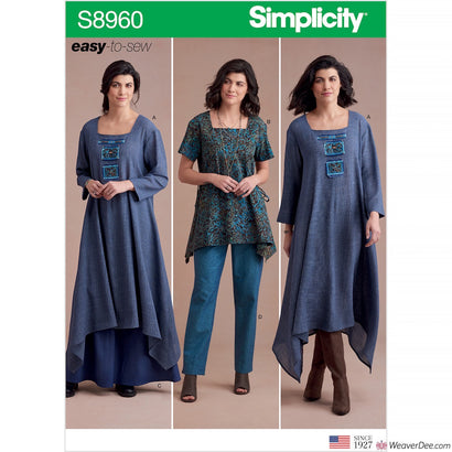 Simplicity Pattern S8960 Misses' Dress Or Tunic, Skirt & Trousers