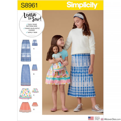 Simplicity Pattern S8961 Children's, Girls' & Dolls' Skirts