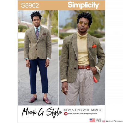 Simplicity Pattern S8962 Men's Lined Blazer