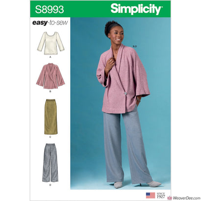 Simplicity Pattern S8993 Misses' Knit Jacket, Top, Skirt & Trousers