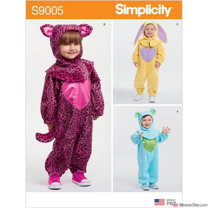 Simplicity Pattern S9005 Toddlers' Bunny, Bear & Cat Costumes