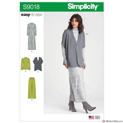 Simplicity Pattern S9018 Misses' Pants, Knit Vest, Dress or Top