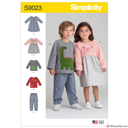 Simplicity Pattern S9023 Toddlers' Dresses, Top & Pants
