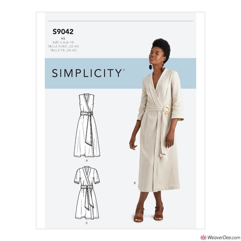 Simplicity Pattern S9042 Misses' Wrap Dresses With Length & Collar Variations