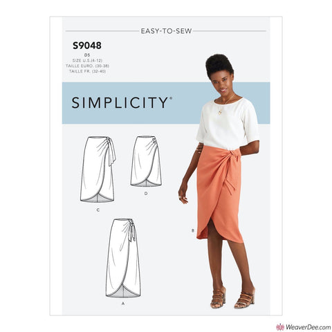 Simplicity Pattern S9048 Misses' Sarong Skirt With Pleats/Gather