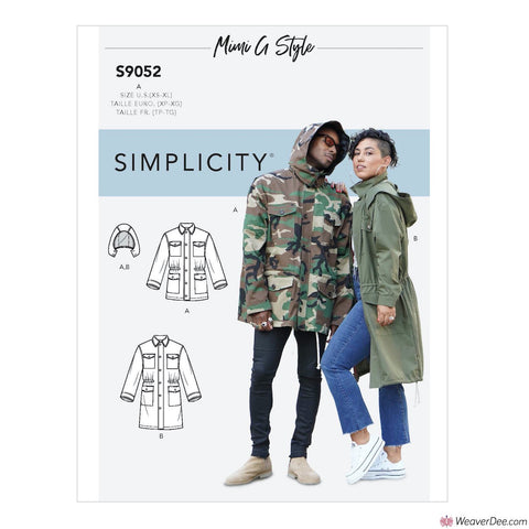 Simplicity Pattern S9052 Misses' Mens & Teen's Jacket & Hood By Mimi G Style
