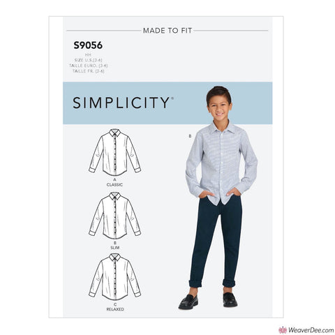 Simplicity Pattern S9056 Children's & Teen Boys' Shirts