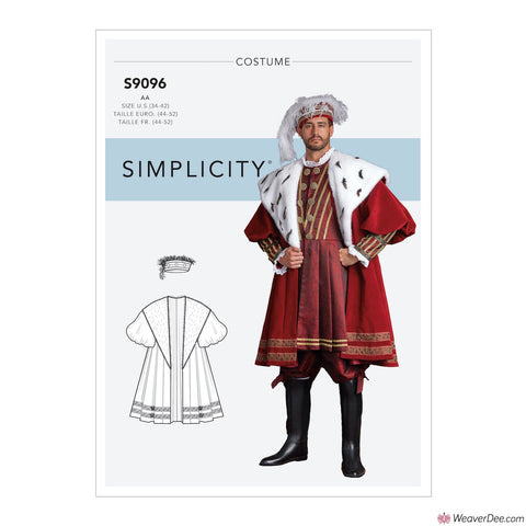 Simplicity Pattern S9096 Men's King's Robe Costume + Hat in 3 sizes
