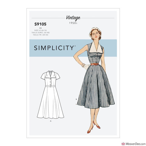 Simplicity Pattern S9105 Misses' Vintage 1950s Dress With Detachable Collar