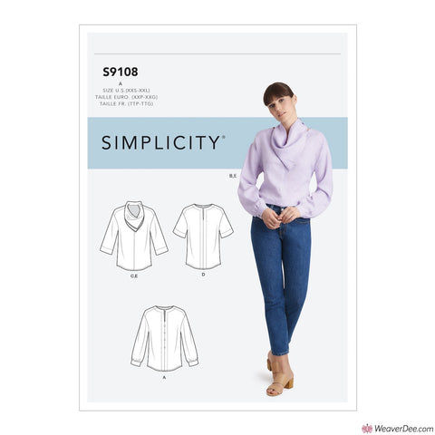 Simplicity Pattern S9108 Misses' Tops With Sleeve Variation & Neck Scarf