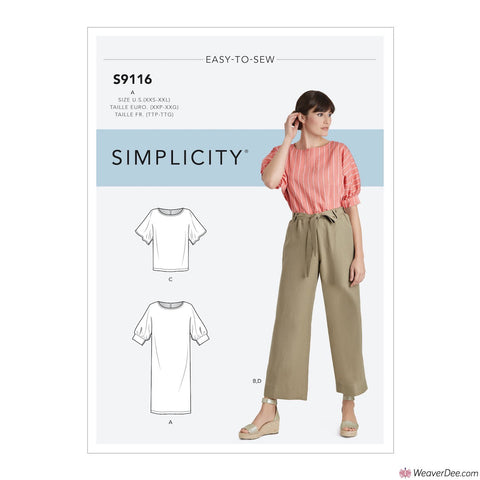 Simplicity Pattern S9116 Misses' Dress, Trousers With Sleeve Variation & Pants With Tie Belt