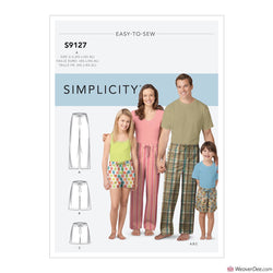 Simplicity Pattern S9127 Unisex Pyjama Bottoms & Shorts (Adult, Teen & Child)