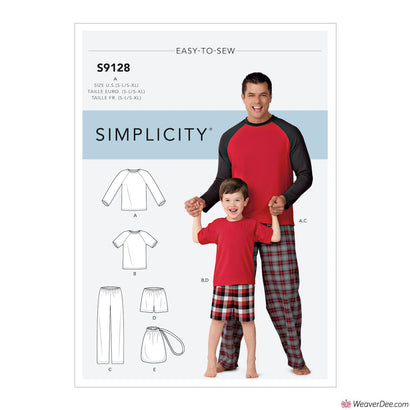 Simplicity Pattern S9128 Men's & Boys Pyjamas