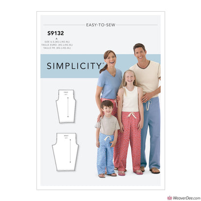 Simplicity Pattern S9132 Unisex Sleepwear (Adult & Child)