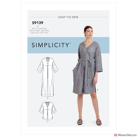 Simplicity Pattern S9139 Misses' Relaxed V-Neck Dresses