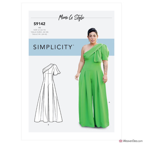 Simplicity Pattern S9142 Misses' Jumpsuit With One Shoulder Drape By Mimi G Style