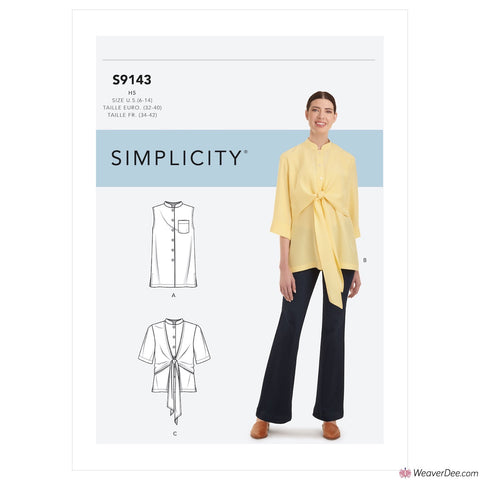 Simplicity Pattern S9143 Misses' Top With Optional Draped Front