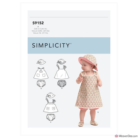 Simplicity Pattern S9152 Babies' Dress, Panties & Hat