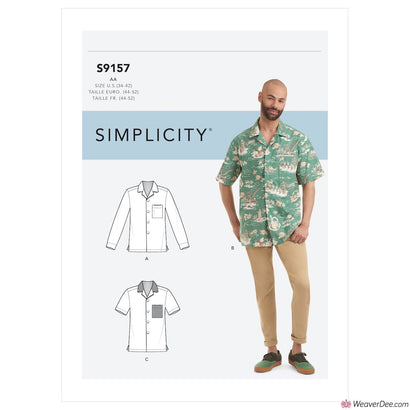 Simplicity Pattern S9157 Men's Open Pointed Collar Shirts