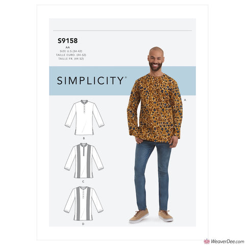 Simplicity Pattern S9158 Men's Half Buttoned Shirts