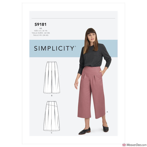 Simplicity Pattern S9181 Misses' Cropped Trousers & Skirt