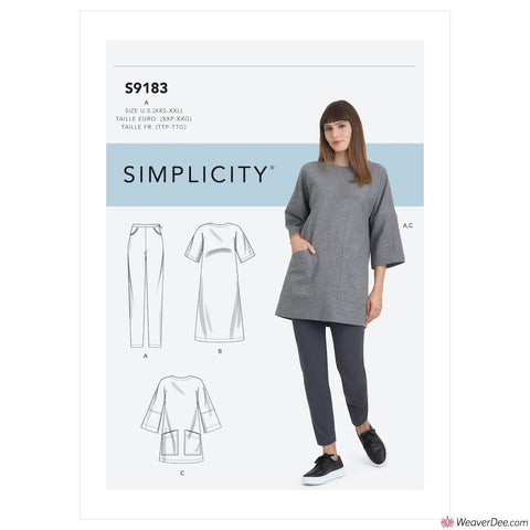 Simplicity Pattern S9183 Misses' Tunic, Top, Dress & Legging