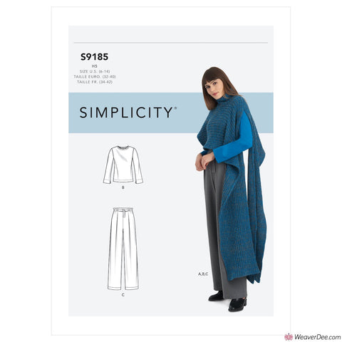 Simplicity Pattern S9185 Misses' Knit Top, Trousers & Knit Cape